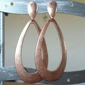 Anthropologie Brushed Copper Door Knocker Earrings